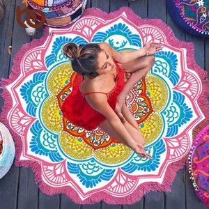 Wholesale 150cm bedding export chakra beach towel tassel Toalla tapestry sunscreen round cover bath towel lotus leaf bohemian yoga mat