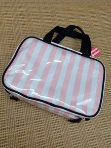 Wholesale Pink Stripe Travel Cosmetic Bag High Quality Portable Cover Case Organizer Makeup Bags Bud Silk Women Toiletry Bag Wash