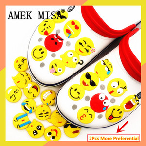 Wholesale Single Sale Funny Emoji Shoe Charms Accessories Garden Shoe Decoration for croc jibz Kid s Party X mas Free