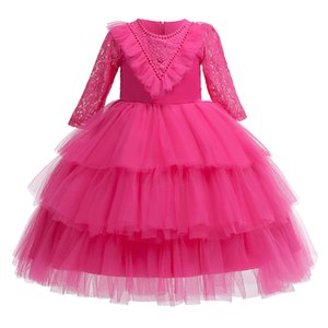 Wholesale Long Sleeves Tulle Pretty Girls Formal Dresses with Cascading Ruffles and Beads Wedding Party Girl Kids Dress