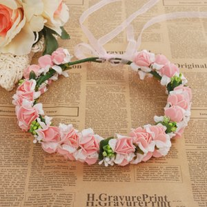 Wholesale Wedding Rose Flower Crown Artificial PE Flower Wreaths for Bride Hairband Festival Travel Beach Hair Accessory Floral Garland