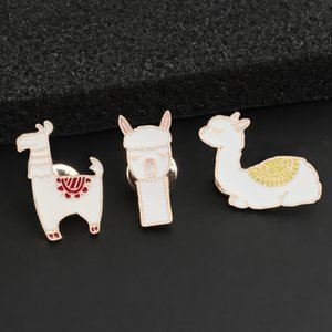 Wholesale Cartoon Animal Brooch Kawaii Pins Alpaca Sheep Cute Badge Enamel Pin Sweater Lapel Bag Decoration Kids Gift Girl Woman Jewelry