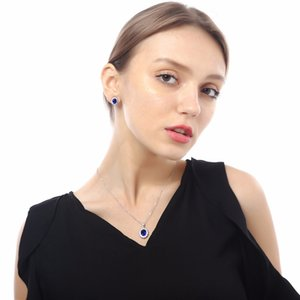 Wholesale Queen Royal ocean blue white gold austrian crystal rhinestones zircon pendant chain necklace earrings ring Jewelry sets