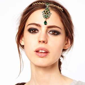 Wholesale Water Drop Green Crystal Rhinestone Bridal Head Chain With Hair Pin Forehead Indian Headpiece For Women Wedding Hair Jewelry
