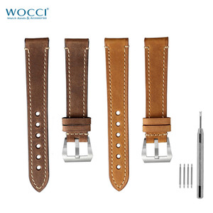 WOCCI 24mm Saddle Style Vintage Genuine Leather Wristwatches Straps Brown Suede Surface For Large Wrist Men Watches Bands Needle Buckle