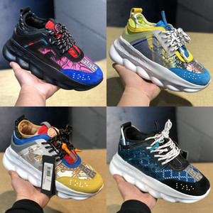 Wholesale 2019 Chain Reaction Luxury Designer Shoes Men Women Platform Sneakers Black White Mesh Rubber Leather Fashion Girl Casual shoes US