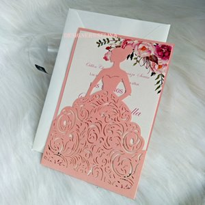 Wholesale Lovely Pink Girl Princess Invitations Laser Cut Quince Invitation with Envelope Hollow Invitation for Bridal Shower