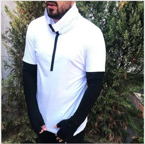New Arrival Men Cotton Sweater Black White Red Brand Tops With High Neck Jewel Pullover Spring Men's Clothing