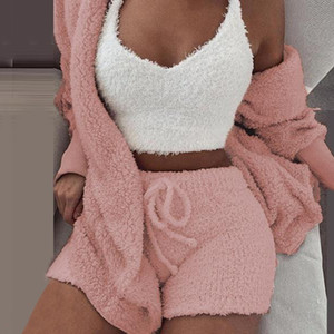 Sfit Soft Long Plush Set Long Sleeve Jacket Women Sexy Crop Top Shorts Suit 2019 New Lady Leisure Sports Sets