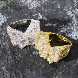 Wholesale Hip Hop Mens Jewelry Rings Iced Out Diamond Ring Luxury Designer Wedding Engagement Love Ring Rapper Bling Accessories Butterfly Charms