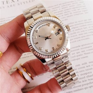 Wholesale Lady Watch Silver Stainess Roman Num with Diamond Women Watch Sweep Automatic Movement Mechanical DayDate Sapphire Solid Clasp free ship
