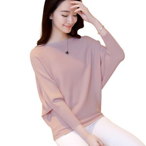 Wholesale Womens Sweaters Fashion Fall Winter Knitted Sweaters and Pullovers Solid Slash Neck Long Batwing Sleeve Knitwear