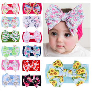 Wholesale Baby Printed Bow Elastic Headbands Soft Bohemian Bow Hair Band Girls Cactus Flamingo Flower Print Headbands HHA498