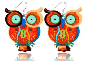 Acrylic Owl Earrings Cartoon Graffiti Pattern Animal Pendant Earrings Fashion Romantic Temperament Earrings multi-Colors Wholesale new