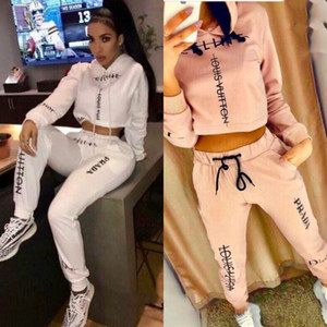 Wholesale Womens Designer Fashion Tracksuits Brand Solid Color Letter Print Two Piece Set Womens Luxury Casual Two Piece Pant New Clothing Set
