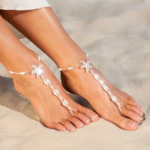 Wholesale Sexy Lady Rhinestone Starfish Anklet Girl Bohemian Pearl Lianjian Stretch Anklet Barefoot Sandals Bridal Wedding Jewelry