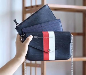 2018 high quality luxury stripe Chain POCHETTE bag three pieces set women epi leather shoulder bags crossbody bag clutch pouch wallets inner