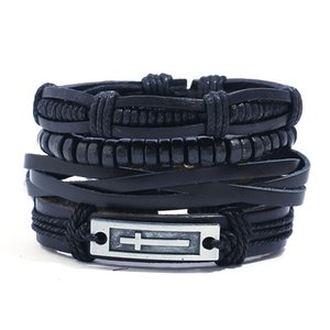 Wholesale 4pcs set hippie punk all black leather band cross tag charm wood beads cord knots wrap wide stackable Bracelets Bangles for man