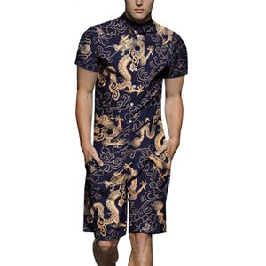 Wholesale Overalls Pants Mens Rompers Dragon D printing Tops Short Sleeve Cargo Jumpsuit Hip Hop Sweatpants Male Summer Clothing