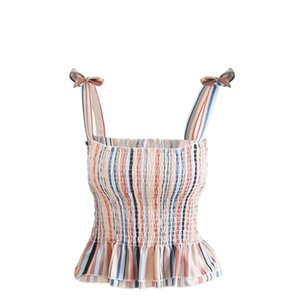 Wholesale 2019 Women Lace Up Sexy Crop Top Camisola Feminina Striped Tank Top Streetwear Spaghetti Strap Cami