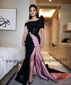 2019 new arrival Sexy split Prom Dresses sweep train black and pink sequined Lace Appliques Cocktail Party Dress zipper back Evening Gowns on Sale