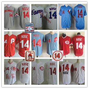 Mens Montreal Expos Pete Rose Jerseys Stitched Red White Blue Zipper Philadelphia Cincinnati #14 Pete Rose Retirement Jersey S-3XL