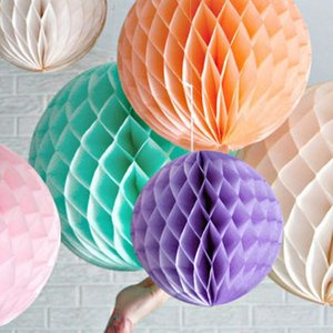 Wholesale tissue honeycomb balls for sale - Group buy 5pcs Tissue Paper Flowers paper pom poms balls Poms honeycomb lantern Party Decor Craft Wedding Party Decors