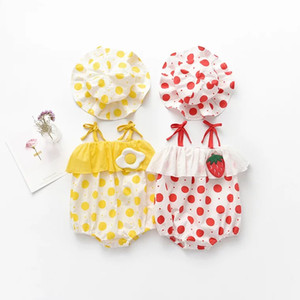 Wholesale strawberry hat resale online - 2pcs Strawberry dot Printed baby romper clothing set kids Sleeveles baby romper with hat girl Kids summer Rompers set FFA2168