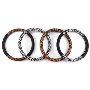 Wholesale Leopard Steering Wheel Cover Leather Car Steering Wheel Covers For Steering Wheels Hubs Case Universal Size M CM For