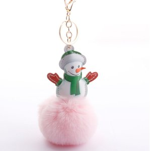Christmas gift snowman printing PU head printing color plush base gold color Keychain for bag car accessory