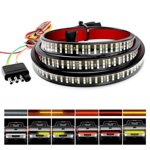 """Truck Tailgate Bar 60"""" Triple Row 504 LED Strip with Red Brake White Reverse Sequential Amber Turning Signals Strobe Lights"""