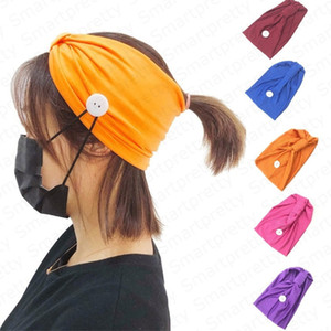 Wholesale hood with face mask resale online - Women s Headband Solid Color Sport Gym Knit Hood Hair Band With Button Wearable Face Mask Ear Protective Yoga Sweat Absorbing Hairlace E4911