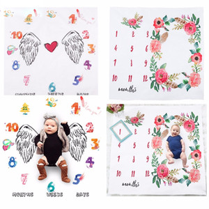 Wholesale 1pc Flower Printed Baby Blankets Swaddle Wrap Cute Soft Blanket Newborn Fashion Bathing Towels DIY Infant Kids Photography Props