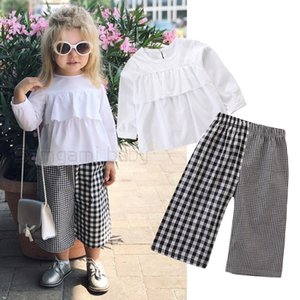 Wholesale Baby Girls Outfits Suit Solid Color Ruffled Button Long Sleeved Shirt Black White Square Stitching Wide Leg Pants Set Girls Casual Outfits