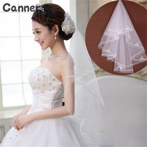 Wholesale Canner Wedding Simple Tulle White Lvory One Layer Meter Bridal Veils Accessories Lace Ribbon Edge