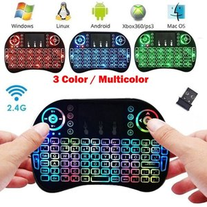 Wholesale i8 Mini Wireless Keyboard Color Backlit Keyboards ghz English colour Air Mouse for Computer Smart TV Web player for X BOX