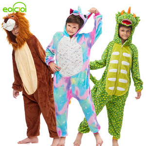 NEW kigurumi dinosaur hooded pajamas for kids boys girls animal unicorn stitch sleepwear winter children sweet Christmas clothes Y200328