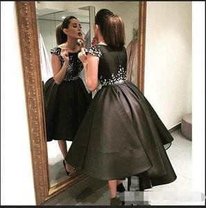 Wholesale Hot Sale Short Black Prom Gowns Tea Length Bateau Neckline Cap Sleeves Beaded Ball Gown Prom Dresses
