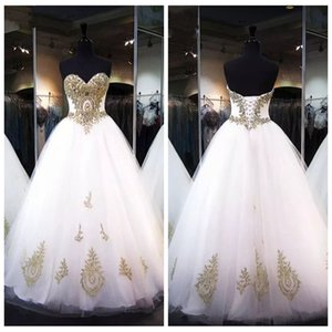 Wholesale Sweetheart A Line Formal Gold Lace Appliques Quinceanera Dresses Beaded Lace Up Back Prom Gowns Custom Junior Ages Long Vestidos