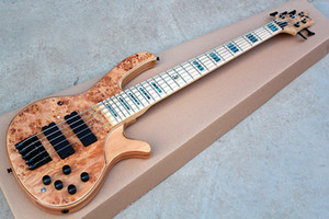 19mm between strings New 5 strings Original Ash Body Electric Bass Guitar with Tree burl veneer,Colorful Pearl Inlay,offer customize