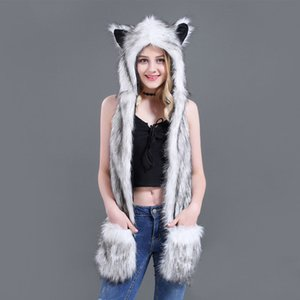 Wholesale 10 Styles Faux Fur Hood Animal Hat Ear Flaps Hand Pockets in1 Animal Hat Wolf Plush Warm Earmuff Cap with Scarf Gloves