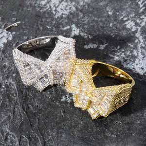 Wholesale Hip Hop Mens Jewelry Rings Iced Out Diamond Ring Designer Wedding Engagement Love Ring Rapper Bling Accessories Butterfly Charms