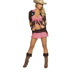 Wholesale New Pink Country Cowgirl Adult Outfit Circus Costume Halloween Masquerade Sexy West Cowboy Uniforms Role Play Clothes A444203