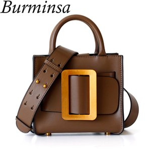 Burminsa Mini Genuine Leather Women Handbags Luxury Wide Strap Shoulder Bags Designer Ladies Purse High Quality Tote Bags 2018