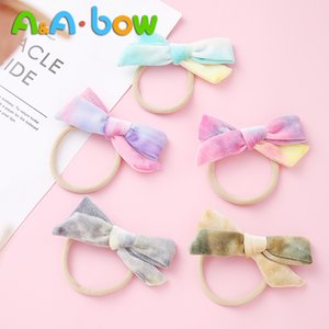 Wholesale mixed baby red hair for sale - Group buy 1pcs New Velvet Bow Headbands Ice Cream Mix Color Headwear Print Elastic Nylon Hair Clips Soft Bow Baby Girls Hair Accessorie