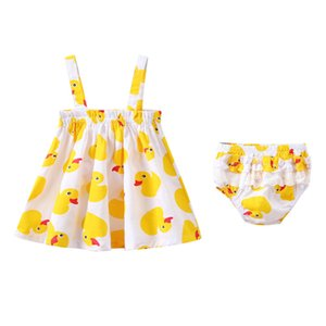 Wholesale Girl Dress Cartoon Little Yellow Duck Print Sling Dress Plus Pants Set Kids Designer Clothes Girls Cute Baby Girl Clothes