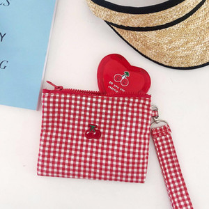 Wholesale Cherry Red Plaid Cotton Fabric String Handbag Women Girls Sweet Zipper Should Bags Card Holder Large Capacity Make up bag
