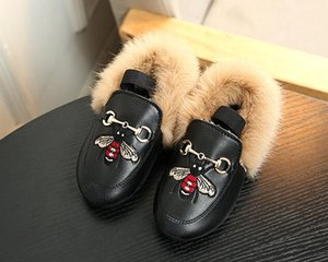 Wholesale Kids Toddler Girls Shoes Fashion Children Baby Plush Velvet Loafer Shoes Girls Princess Party Shoes Velvet Embroidered Leather Shoe