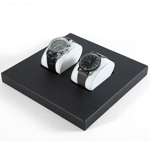 Luxury Watch Display Stand PU Leather Men's Wrist Watches Bangle Holder Tray with Cushion Pillow for Boutique Shop Showcase Trade Show