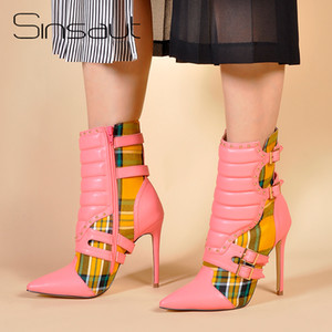 Wholesale Sinsaut Shoes Women High Heels Ankle Boots for Women Pointed Toe Boots Ladies Red Plaid Motorcycle Yellow Gingham